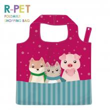 L012-Three Brothers - 100% RPET Reusable Grocery Shopping Bag with Cute Animal Drawing, Water Resistant Foldable Tote Bag