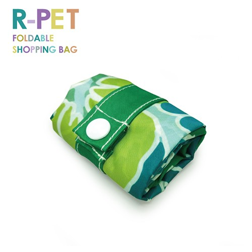 M001-Green Hibiscus - 100% RPET Shopping Bag, Strong Heavy Duty Reusable Bags For Groceries, Custom Logo Printing.