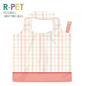 L008-Pink Striped Lattice-100% RPET (Recycled PET Bottles) Reusable Bag, Eco Shopping Bag, Custom Printing Waterproof Shopping Bags.
