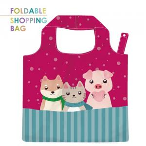 PL012-Three Brothers-Eco-Friendly Polyester Reusable Grocery Shopping Bag with Cute Animal,Waterproof Durable Tote Shopping Bag.