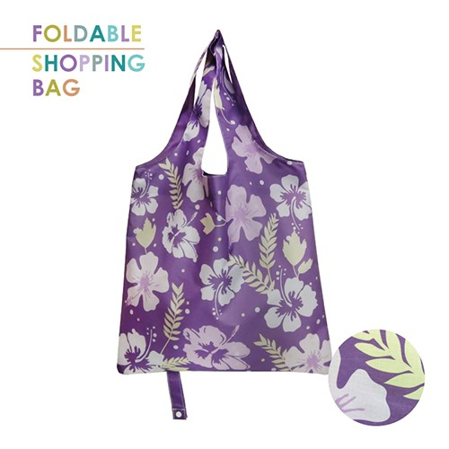 PM002-Purple Hibiscus - Polyester ECO Foldable Shopping Bag, Reusable Grocery Bag, Custom Sublimation Water Repellent Shopping Bag