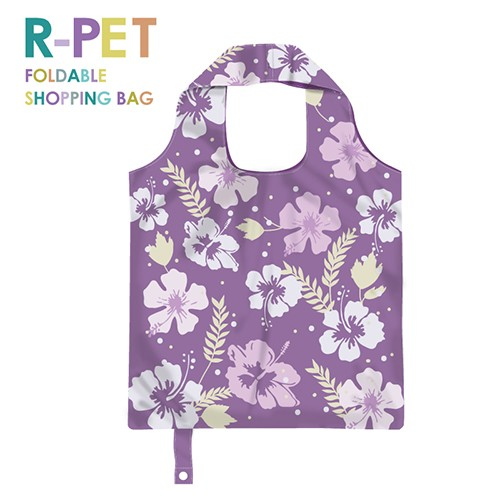 M002-Purple Hibiscus - 100% R-PET Foldable ECO-Friendly Shopping Bag, Reusable Grocery Bag, Custom Sublimation Printing, Water Repellent.